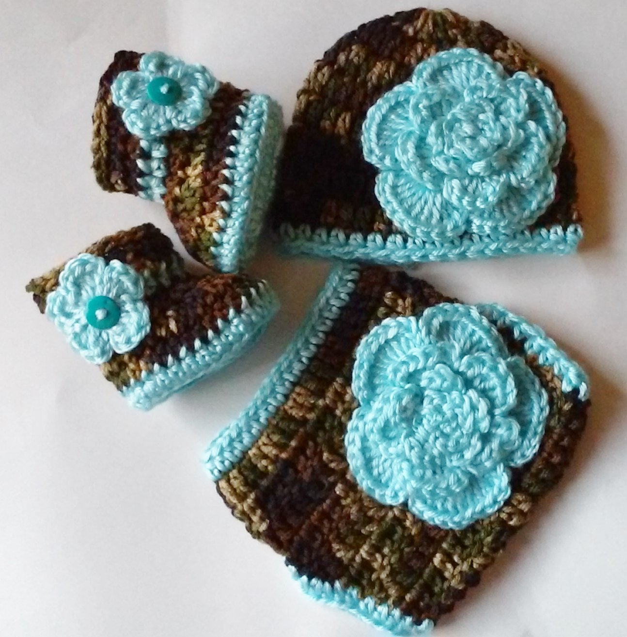 Crochet Dark Camo and Floral Diaper Cover Set in Teal Blue with Hat, Booties Newborn 0-3 Months