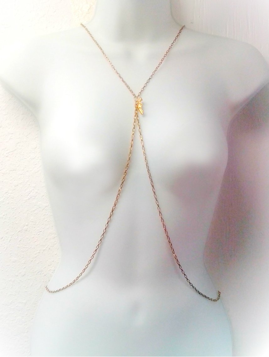 Golden Gun Body Harness Necklace for Women by Eluxe Jewelry