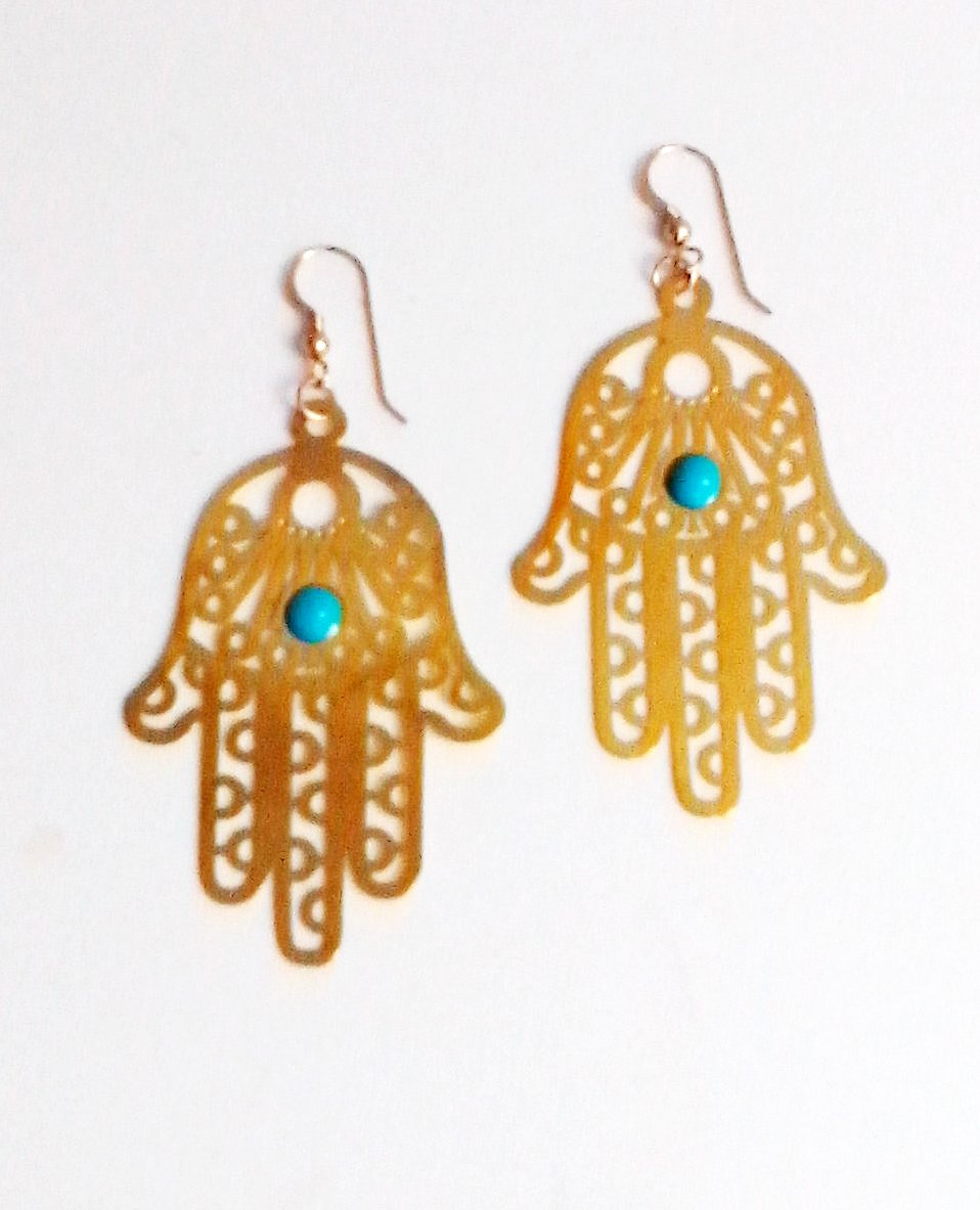 Gold and Turquoise Hamsa Earrings for Women by Eluxe Jewelry