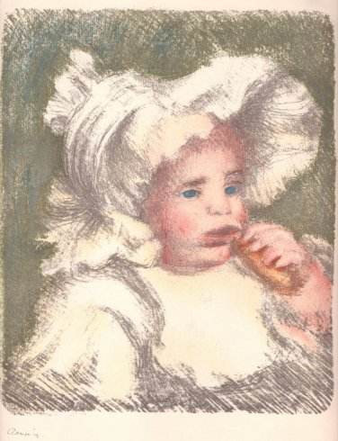 """Renoir """"Eu fant au Biscuit"""" Stone Color Lithograph"""