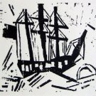 Lyonel Feininger - Dreimaster Mit Flagge - Ltd Edition Wood Cut