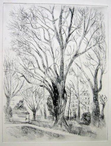 André Dunoyer de Segonzac - L�arbre -Original Etching - 1924