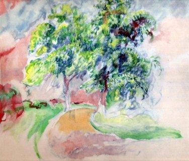 """Pierre-Auguste Renoir �Watercolor Landscape # 2 """" Lithograph"""