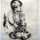 Lila Copeland  - Girl on a Toy Truck - Pencil Signed - Etching