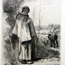 Jean-Francois Millet - La tricoteuse -The knitter -  Etching by Pierre Teyssonni