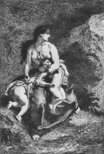 Eugene Delacroix's Medee Original Etching by Feyen Perrin