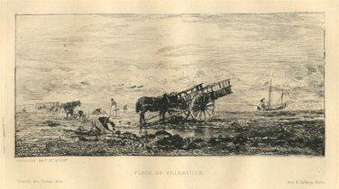 Charles Daubigny - Plage de Villerville - Etching