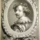 Albert Clouvet  - Engraving Portrait of  Sir Anthony van Dyck