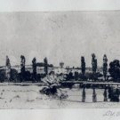 "D Y Cameron "" The Itchen, Near Winchester"" Pencil Signed Etching"