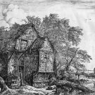 Jacob van Ruisdael -The Rustic Cottage and Bridge - Etching - pre 1800