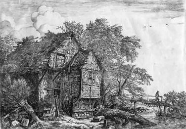 Jacob van Ruisdael -The Rustic Cottage and Bridge - Etching - pre 1800