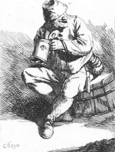 Cornelis Bega -Seated Peasant with a Stein -Etching
