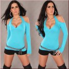 Sexy Neck Holder Long Sleeve Blue Top size (M)