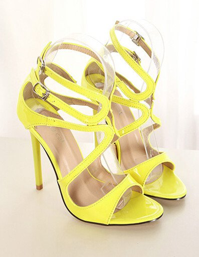 Charming Pure Color Open Toe One-buckle Belt Thin H(5)eel Sandals(us4)
