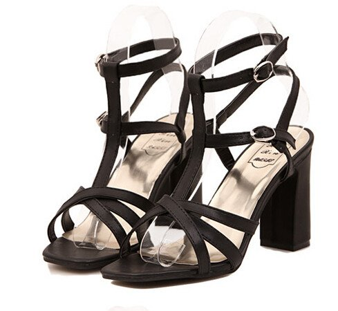 Cozy Hollow Out Pure Color One-buckle Belt Open Toe Chunky Heel Women Sandals