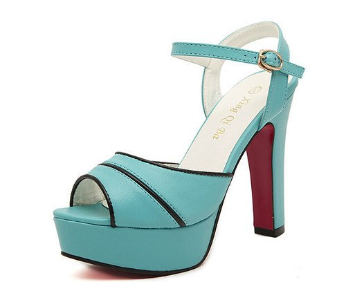 Sweet Style Pure Color One-buckle Belt Peep Toe Chunky Heel Platform Women Sandals