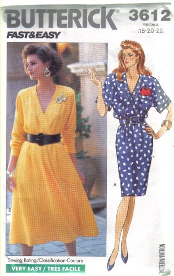 Misses Mock Wrap Dress  Sizes 18, 20, 22 Butterick No 3612 uncut