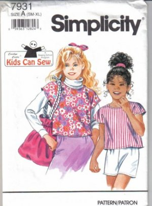Kids Can Sew Blouse and Sewing Bag Pattern sm-xl Simplicity 7931