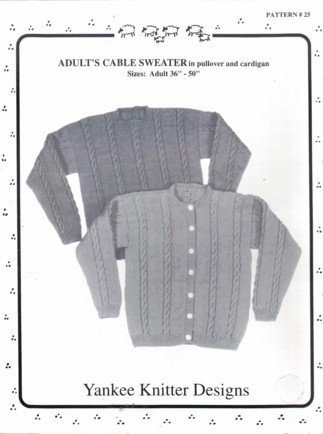 Adult Cable Sweater Pullover and Cardigan 36� � 50�