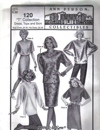 Misses� Ann Person �T� Collection Dress, Tops and Skirt Pattern -  fits Hips 32-48