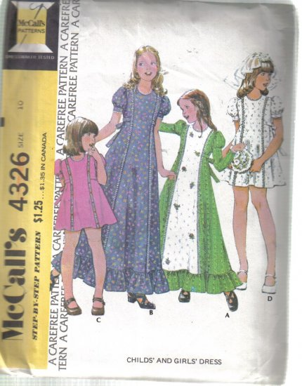 McCall�s Vintage Girls� Puffed Sleeve Dress Size 10 Uncut no 4326
