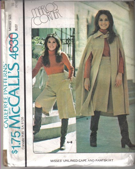 McCall�s Vintage 1975 Marlo�s Corner Unlined Cape and Pantskirt  Pattern Size 10 Uncut