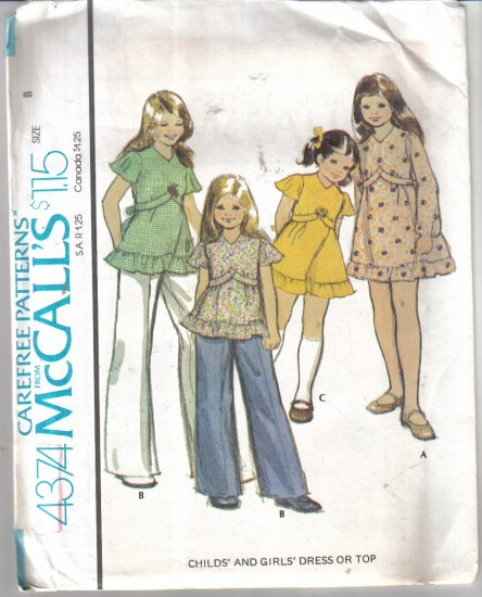 McCall�s Vintage Girls� Dress / Top Pattern Size 8 Uncut