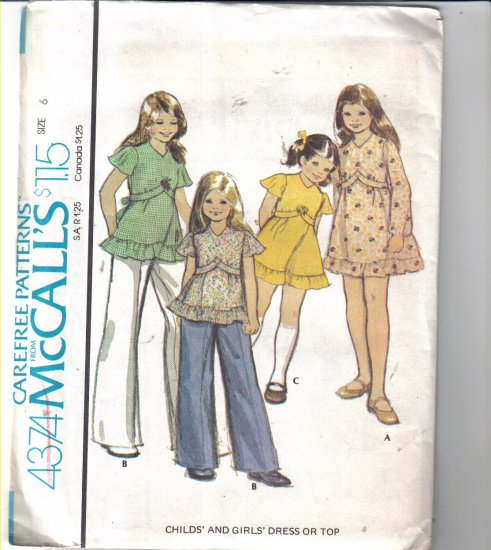 McCall�s Vintage Girls� Dress / Top Pattern Size 6 Uncut 4374