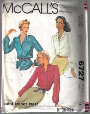 McCall�s 6727 Vintage Misses� Blouse Pattern Size 12