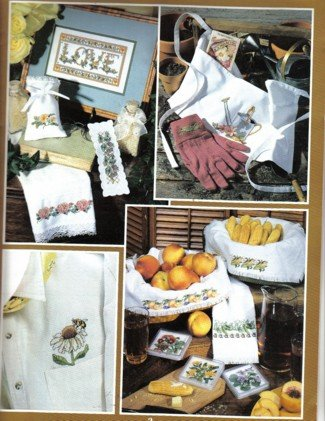 Garden Gifts to cross stitch, Afghan, towels, samplers and more