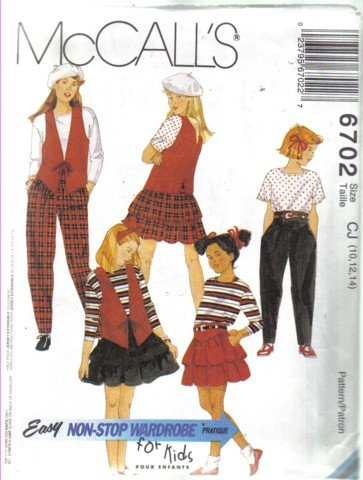 McCall�s  6702 Girls� Lined Vest, Top, Skirt & Pants Pattern Size 10, 12, & 14 uncut