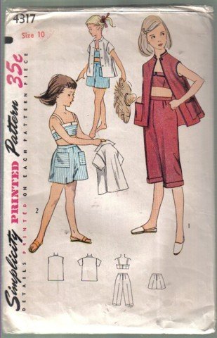 Simplicity 4317 Vintage Girls� Shorts, Pedal Pushers, Bra and Jacket   Pattern Size 10