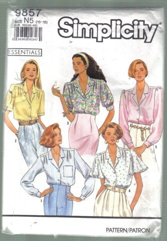 Simplicity 9857 Misses� Blouse  Pattern Size 10 - 18  Uncut 5 Views