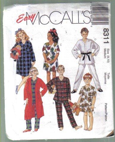 McCall�s Boys' Girls� Robe, Nightshirt, Pajamas  Pattern Size 8, 10  uncut