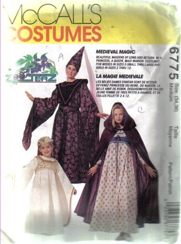 McCall's 6775 Misses  34, 36 Medieval Magic Costume Pattern - Gown, Cape, Hat, Scarf & Vest - Uncut