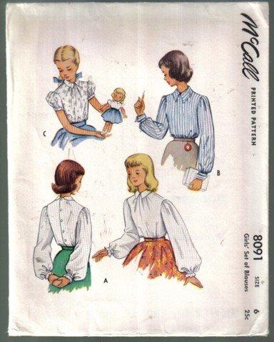 McCall  8091 Vintage Girls' Set of Blouses Pattern Size 6  Uncut