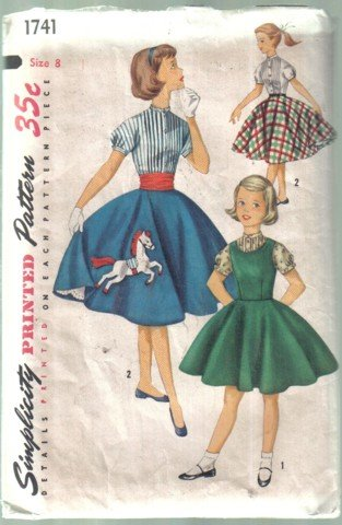 Simplicity Vintage Girls' Full Circle Skirt, Jumper & Blouse Pattern Size 8