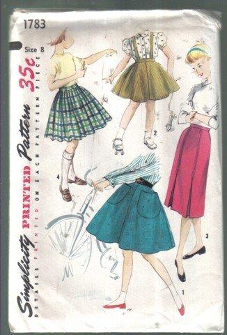 Simplicity Vintage Girls' Set of Skirts Pattern Size 8 # 1783