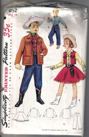 Simplicity 4152 Vintage Boys' & Girls' Cowboy Cowgirl  Western Costume Size 10