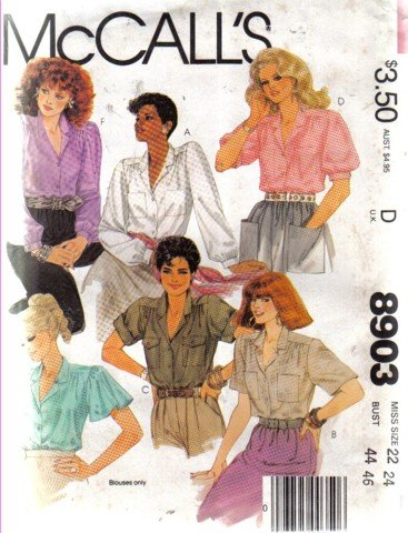 McCall's Size 22/24 Bust 44/46 Blouse Pattern  no, 8903 Uncut