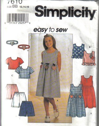 Simplicity Girl's Size  7, 8, 10 Dress, Top, Headband & Shorts Pattern no 7610