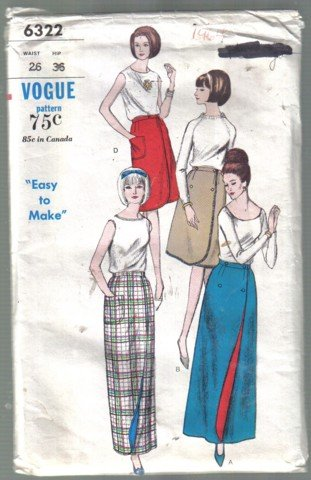 Misses� Vintage Vogue 6322 Easy to Make Front Wrap Skirt Pattern 2 lengths 26 Waist