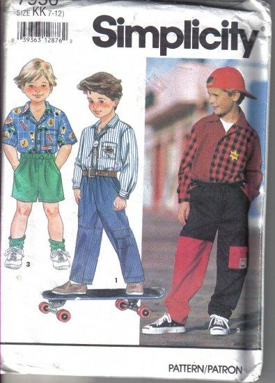 Simplicity Boys Pants, shorts, Shirt Pattern  size 7-12 - Uncut no. 7956