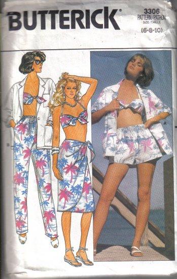 Shirt, Skirt, Pants, Shorts Bra Pattern uncut Butterick  3306 Size 6, 8, 10