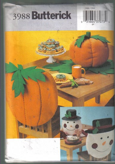 Butterick  3988 Tabletop Fall Pumpkin Winter Snowman Pattern