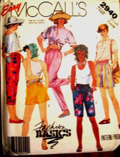 McCall's  Easy Misses' Size 10 -12 Pants or Shorts Pattern Uncut 2940