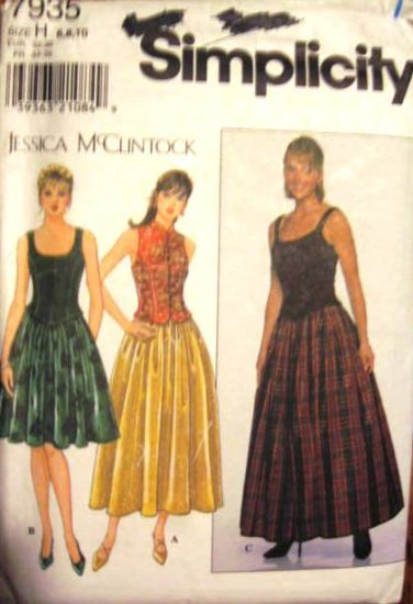 Simplicity  Misses' Size 6, 8, 10 Jessica McClintock Skirt and Top Pattern Uncut 7935