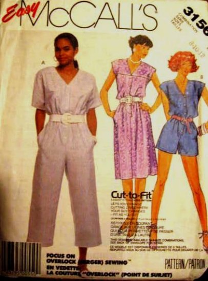 McCall's Misses' Dress and Jumpsuit Pattern size 8, 10, 12  uncut no 3156
