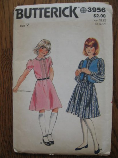 Butterick 3956 Girls Vintage Dress and Vest sewing  Pattern  Size 7 Uncut