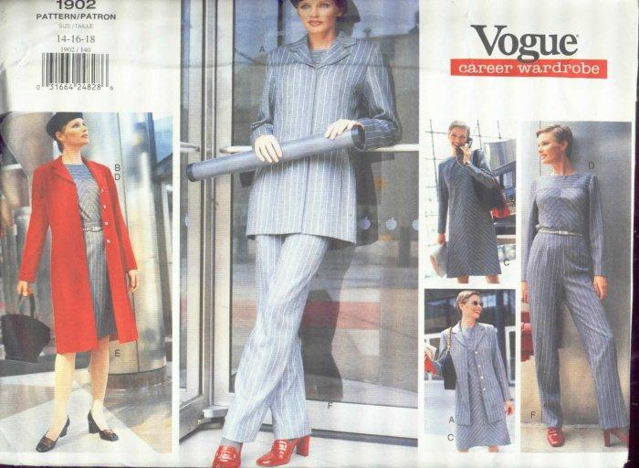 Vogue 1902 Career Wardrobe Jacket, Dress, Skirt, Pants uncut 14,16,18